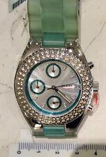 Guess orologio cronografo quarzo nuovo rotondo ghiera con zirconi strap gomma