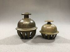 """(2) Vintage Brass Elephant Temple Ritual Claw Bells Etched 3"""" x 2 1/2"""" & 2"""" x 2"""""""
