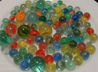 100 Vintage Cats Eye Marbles Multicolor Red Blue Yellow Olive Green W Shooters 5