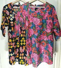 Lot of 2 Vintage DESIGN HOUSE Japan Groovy Mod Tunic Top Apron Smock Dress