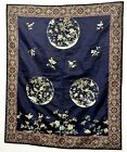 1900 s Chinese Brocade Silk Embroidery Crane Pine Tree Panel Tapestry Hanging