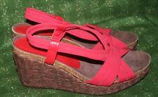 Donald J Pliner Red Jemm Stretch Slingback Wedge Sandals Size 8