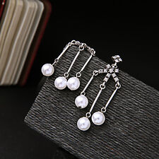 Rings`Ears CLIP ON Silver Cobblestone Candlestick Pearl End Class Marriage B10