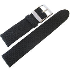 22mm Eulit PALMA PACIFIC Black Two-Pc Woven Nylon Perlon German Watch Band Strap
