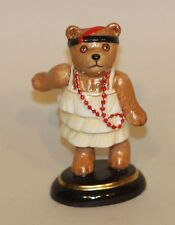 2003 Halcyon Days Teddy Bear of the Year Figurine Red Necklace and Feather