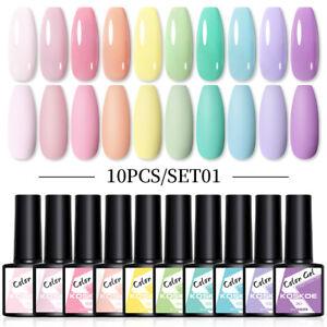 KOSKOE 10 Pcs 8ml UV Gel Nail Polish Color Gel Set Colorful Soak Off Manicure