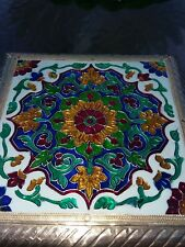 Wrapped Tin? Gorgeous Floral Pooja Chowki Stand 4 Home Art Decor Hindu Temple