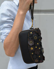 Coach Small Tea Rose Applique Black Leather Clutch Wristlet 23536