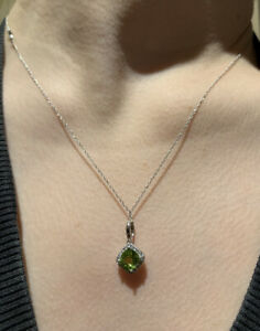 Fine, Solid White Gold, Natural Peridot and Diamond Pendant On Solid Gold Chain.