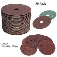 50pcs Fibre Sanding Grinding Discs Wheels 24-120Grit For Angle