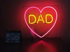 Glass Neon Dad Farthers Day Birthday Party Bar Man Cave Decor Light Sign