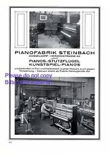 Pianofabrik Steinbach Düsseldorf XL Reklame 1925 Piano Klavier Flügel Werbung +