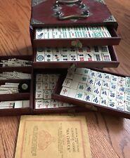 Vintage 1923 Mah Jong Set Game Bone Bamboo Wooden Box 146 Tiles Counter Booklet
