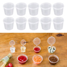 50pcs Disposable Plastic Portion Cups Clear Portion Container with Lid for Sauce