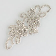 New Motif Rhinestone Crystal Beaded Wedding Bridal Applique Craft Sew/Iron on
