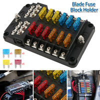 12 Way Blade Fuse Box Block Holder LED Indicator Light for 12V Car Marine V