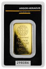 1 oz Gold Bar Argor-Heraeus Logo Kine Bar in Assay Certificate