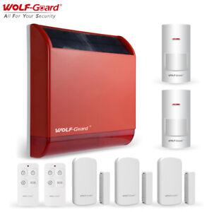 Wolf-Guard Outdoor Large Solar Siren Alarm Kit Home Security Burglar System Red