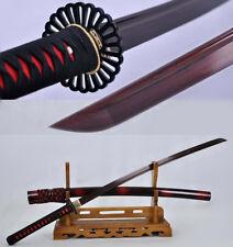 Handmade Full Tang Katana Red Damascus Folded Steel Blade Japanese Samurai Sword