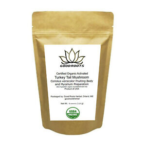 Turkey Tail Mushroom Powder Organic USA grown Bio-Active Full Spectrum 8 oz