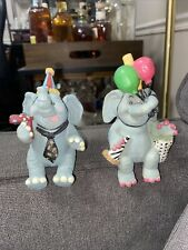 Set of 2 Birthday Elephant Figurines Wmg Shelf Sitters