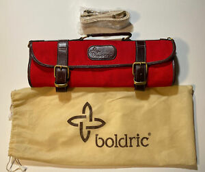 Boldric Canvas and Leather 9 Slot Pocket Knife Carry Bag Strap & Cover Bag NWOT
