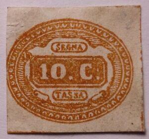 Italy 1863 10c RARE segnatasse Bruno arancio mint+gum .€2800+. Sassone 1c