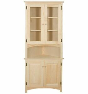NEW AMISH Unfinished Solid Pine CORNER HUTCH China Cabinet Rustic Wood Handmade!