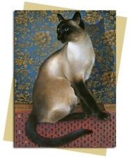 Ivory Cats Phuan on a Chinese Carpet ~ Lesley Ann Ivory Blank Cat Greeting Card