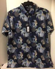 Hart Schaffner Marx Mens Shirt SS $95 Geometric Blue Dark Navy Large 154