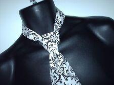 Black Damask Cotton Necktie Men's Madi Black and White Tie Men wedding Bridal