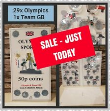 50p PENCE OLYMPIC LONDON 2012 COIN HUNT ALBUM in.mintage & Team GB FLAT CAPSULES