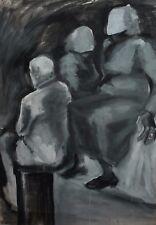 LARGE MODERNIST PORTRAIT GOUACHE PAINTING