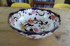 "Mason's Ironstone Blue Mandalay 10"" Footed Fruit Bowl Vintage"