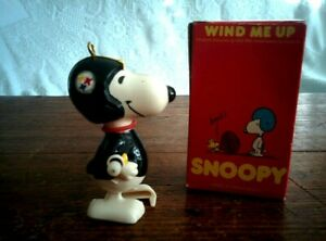 """Custom Created Vintage 3"""" Ornament & Box SNOOPY FOOTBALL Pittsburgh Steelers NFL"""