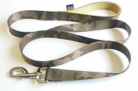 1.5m LONG DOG LEAD ARMY CAMOUFLAGE GREEN , GOLD DOUBLE WEBB HANDLE.