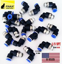 10 x Pneumatic Male Elbow Connector Tube OD 1/4