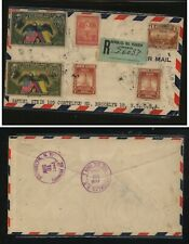 Ecuador nice franking blue registered label cover  to  US     MS0824