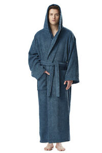 Men's Long Hooded Ankle Length Turkish Cotton Bathrobe Robe