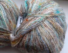 2 x 50g Textured Mohair Yarn, Blue/White/Multicolour. Knit/Crochet/Weave