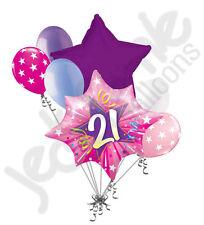 7 pc Happy 21st Birthday Pink Star Burst Balloon Bouquet Party Decoration Adult