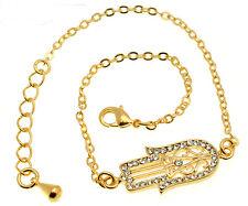 Hamsa Gold Bracelet Evil Eye Charm Kabbalah Hand Of Fatima Judaica Pendant New