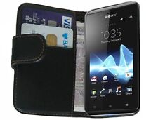 Black Wallet Leather Case cover for Sony Xperia J ST26i / ST26a +2 SCREEN FILMS