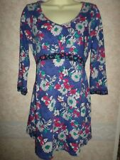 MARKS & SPENCER PER UNA COTTON JERSEY STRETCHY BLUE FLORAL TUNIC WITH TIES SZ 10