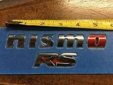 "NEW OEM NISMO REAR EMBLEM  ""NISMO RS"" W RED ""O"""