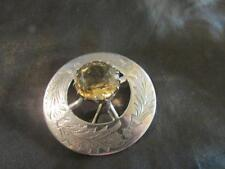 Fab Vintage Scottish Quality Solid Silver Thistle & Citrine Brooch,FN