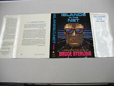 """FINE 1ST ED DUST JACKET FOR """"ISLANDS IN THE NET"""" BY BRUCE STERLING!"""