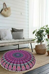 Pink Purple Peacock Mandala Floor Pillow Indian Meditation Cushion Cover 82 Cm