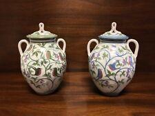 "LAURENCE MCGOWAN England Avian 10.75"" Stoneware Lidded Ginger Jars Urns Pair"