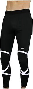 THE II BRO Compression Men's Reflective Running Pants with Pockets (Small)